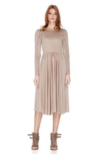 Beige Jersey Flared Midi Dress - PNK Casual