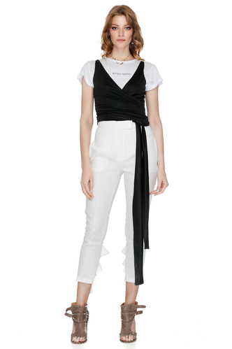 Black Jersey Wrap-Effect Top - PNK Casual