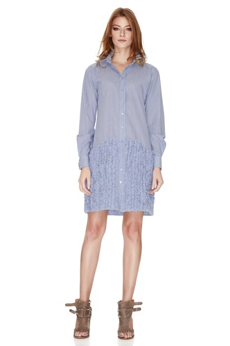 Blue Striped Cotton Poplin Dress - PNK Casual