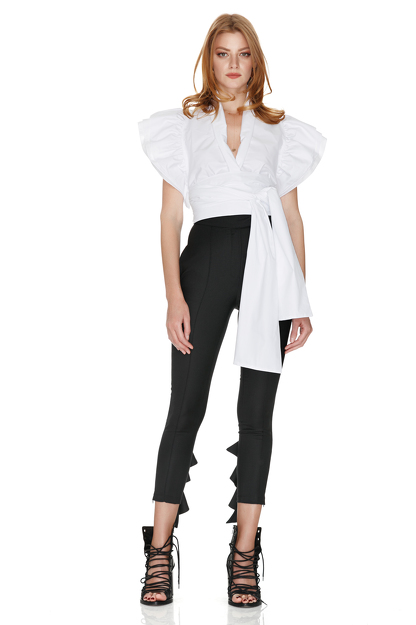 White Wrap-Effect Top