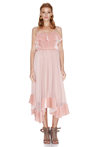 Pink Silk Chiffon and Velvet Midi Dress - PNK Casual