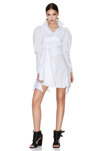 White Wrap-Effect Mini Dress - PNK Casual