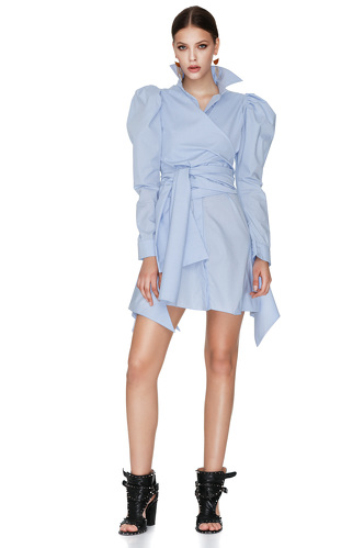 Blue Wrap-Effect Mini Dress - PNK Casual