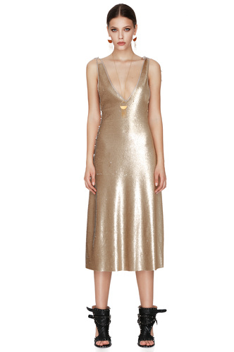 Gold Sequins Midi Dress With Silk Detailing - PNK Casual