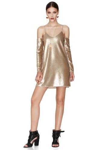 Gold Sequins Mini Dress - PNK Casual