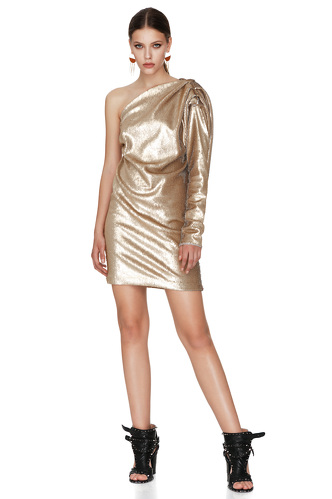 Gold Sequins One Shoulder Mini Dress - PNK Casual