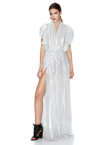 White And Silver Pleated Lamé Maxi Dress - PNK Casual