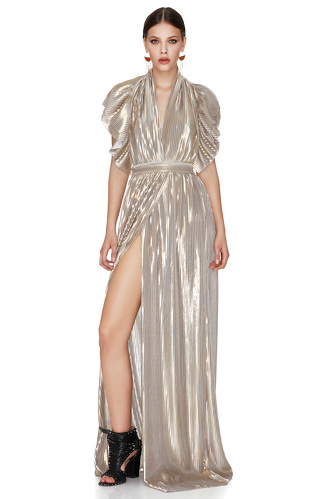 Gold Pleated Lamé Maxi Dress - PNK Casual