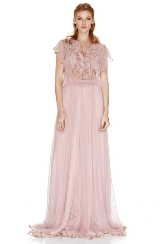 Rose Silk Chiffon Maxi Dress - PNK Casual
