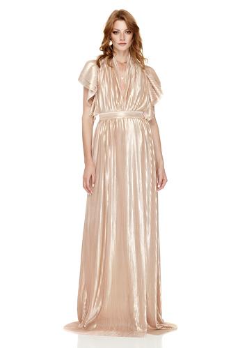 Rose-Gold Pleated Lamé Maxi Dress - PNK Casual