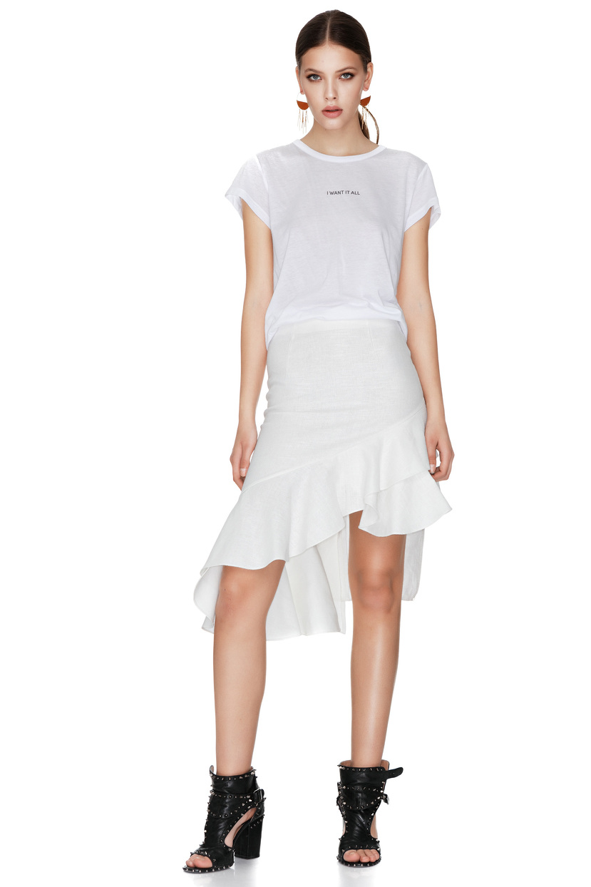 white asymmetric midi skirt pnk casual