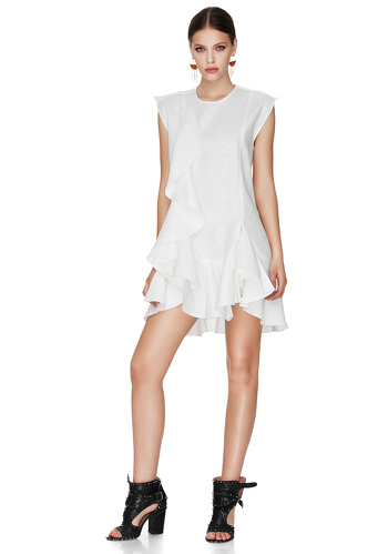 White Dress With Ruffles - PNK Casual
