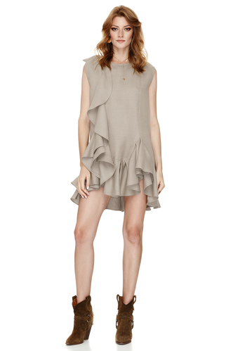Beige Dress With Ruffles - PNK Casual