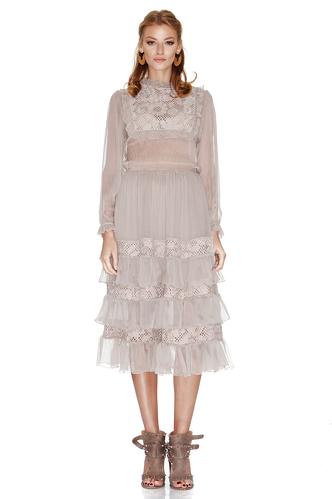 Beige Silk Chiffon and Lace Ruffled Dress - PNK Casual