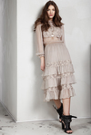 Beige Silk Chiffon and Lace Ruffled Dress
