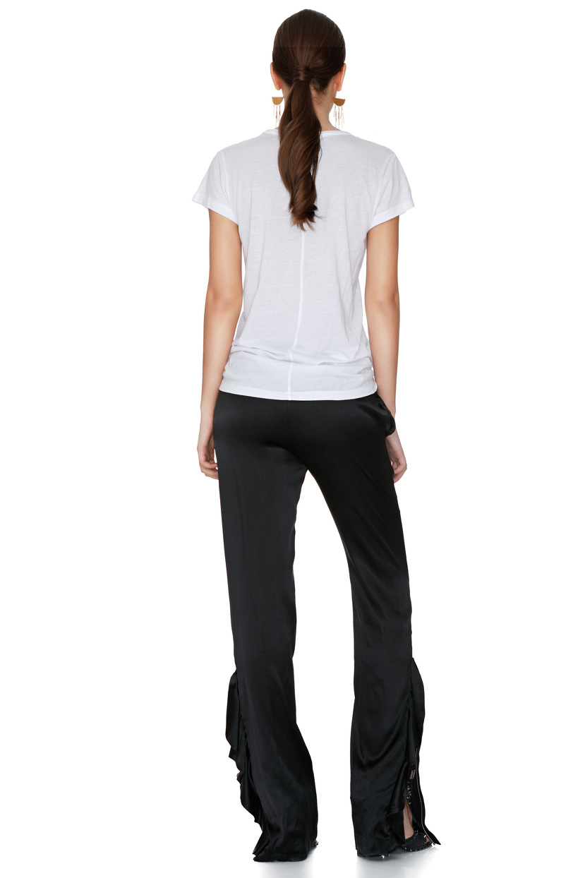 Black Silk Pants With Ruffles - PNK Casual