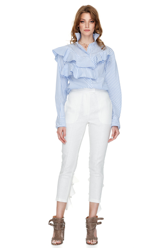 Ruffle Trimmed Striped Cotton Shirt - PNK Casual