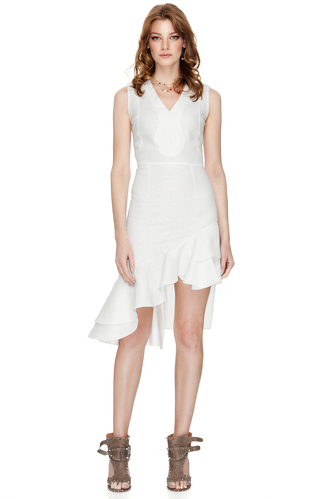 White Asymmetric Midi Dress - PNK Casual