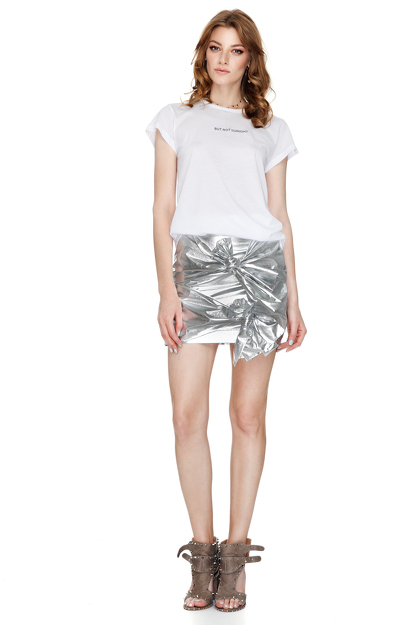 Doll Metallic Cotton Mini Skirt