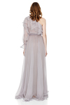 Lavender Silk Chiffon One Shoulder Maxi Dress