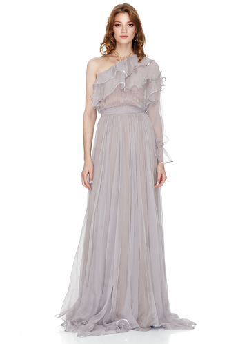 Lavender Silk Chiffon One Shoulder Maxi Dress - PNK Casual