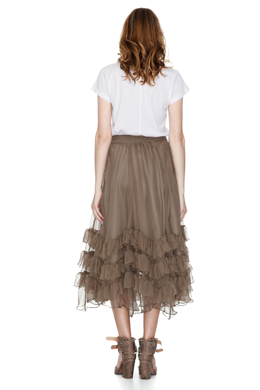 brown silk chiffon midi skirt pnk casual