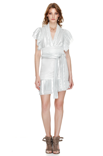 White And Silver Pleated Lame Mini Skirt - PNK Casual