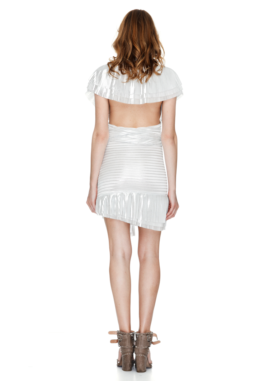 white and silver pleated lame mini skirt pnk casual