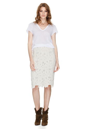 Off White Lace Skirt - PNK Casual