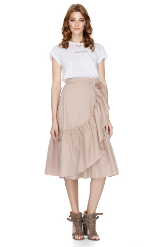 Ruffled Cotton Poplin Midi Skirt - PNK Casual