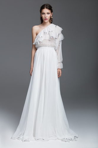 White Silk Chiffon Long Dress - PNK Casual