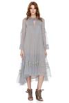 Blue Grey Silk Chiffon Midi Dress