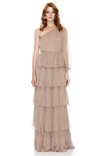 Beige Silk Long Dress - PNK Casual