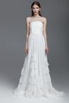 White Silk Chiffon Dress With Corset