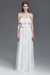 White Silk and Velvet Long Dress