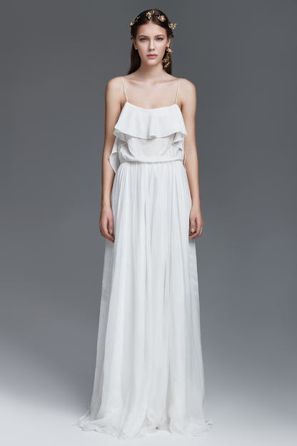 White Silk and Velvet Long Dress