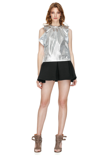 Ruffled Cotton Metallic Backless Top - PNK Casual