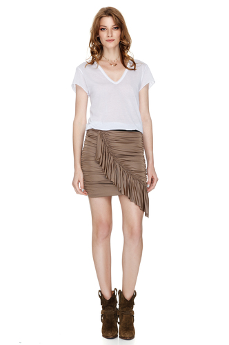 Brown Skirt With Wrap Effect - PNK Casual