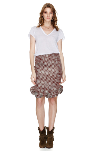Burgundy Skirt With Ruffled Hem - PNK Casual