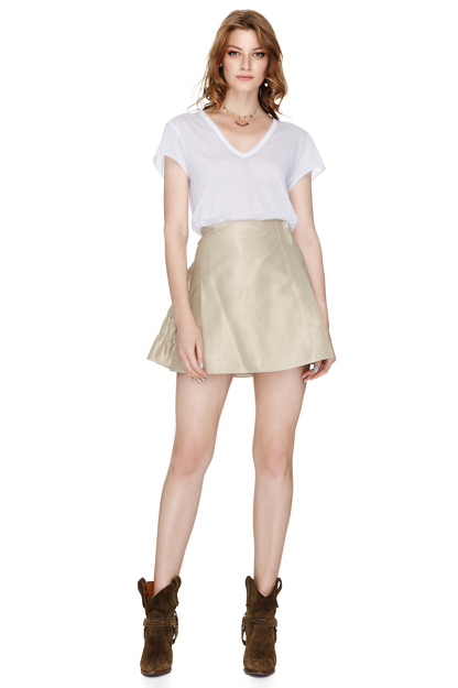 Beige Mini Skirt With Wrap Effect
