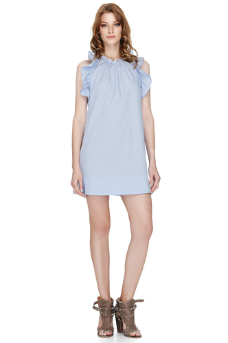Blue Ruffled Cotton Poplin Backless Dress - PNK Casual