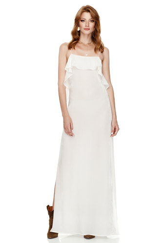 White Velvet Maxi Dress - PNK Casual