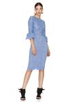 Blue Floral Lace Slim Midi Dress
