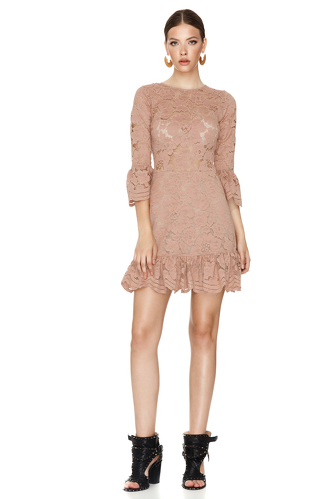 Dusty Pink Floral Lace Mini Dress - PNK Casual