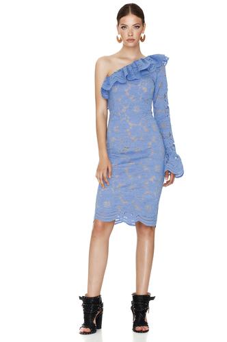 Blue Floral Lace Midi Dress One Shoulder - PNK Casual