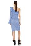 Blue Floral Lace Midi Dress One Shoulder