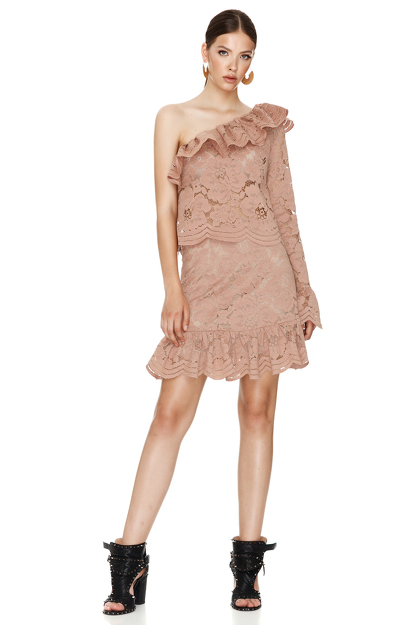 Dusty Pink Floral Lace Mini Skirt