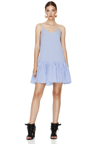 Blue-Checkered Mini Dress With Straps - PNK Casual