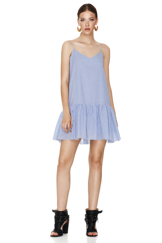 Blue-Striped Mini Dress With Straps - PNK Casual