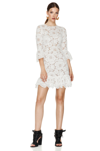 White Floral Lace Mini Dress - PNK Casual